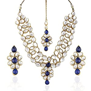 I Jewels Traditional Gold Plated Kundan Necklace Set With Maang Tikka For Women(White) (Ij237Bl)