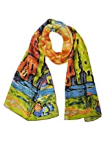 Wrapables Luxurious 100% Charmeuse Silk Long Scarf with Hand Rolled Edges, Wassily Kandinsky's Houses in Munich