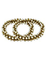The Jewelbox Stretchable Light Weight Antique Gold Plated Pearl Anklet Pair For Women