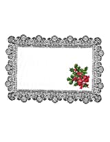 Heritage Lace Boughs of Holly 14-Inch by 19-Inch Placemat, White, Set of 2