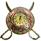 Little India Rajasthani Sword Armour Wall Clock  (Brass,HCF107)