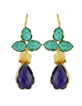 Gehnamart Yellow Gold Plated Turquoise Hook Earring