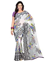 Admyrin Off-white Printed Saree with Light Purple Blouse