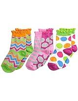 Jefferies Socks Baby Girls' Chevron Dots Stripe Crew Socks 3 Pair Pack, Multi, Toddler Months