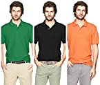 Polo Men's T-Shirts Pack Of 3 Green, Black, Orange