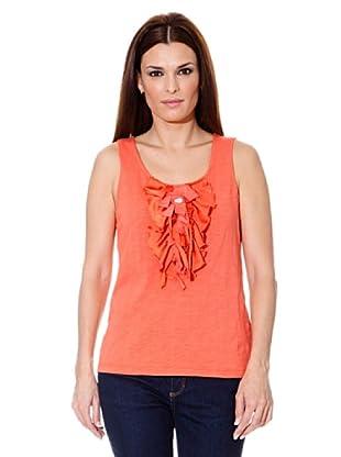 Cortefiel Camiseta Volantes (Coral)