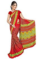 Chinco Saree With Blouse Piece (P1001-D_Red)