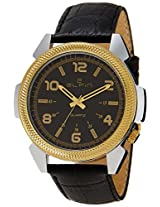 Elfin Men's Genuine Leather Quartz Analogue Black Dial Watch (ELF7001B)