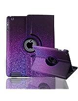 HDE iPad 2/3/4 Tablet Case Rotating Flip Stand Folding Folio Magnetic Cover Designer for Apple iPad 2/3/4 (Purple Glitter)