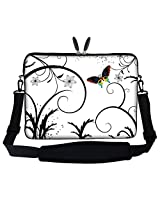 Meffort Inc-15.6 inch White Butterfly Design Laptop Sleeve Bag Carrying Case with Hidden Handle and Adjustable Shoulder Strap