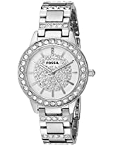 Fossil Womens ES3097 Jesse Silver-Tone Stainless Steel Watch with Pave Glitz Dial