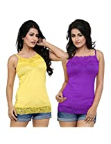 Alba Women's Camisole (Pack Of 2) (CC054YPR_Yellow/Purple_Large)