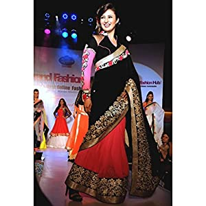 Red black bollywood sleeve saree-Frinkytown