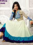 Fabdeal Womens Georgette Semi-Stitched Salwar Suit Set (Hredr2122Rs _White & Blue _Free Size)