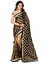 Sourbh Saree Lace Work Gold and Black Chiffon and Jacquard Best Sarees for Women Party Wear,Karwa Chauth Gifts for Wife, Women Clothing Collection