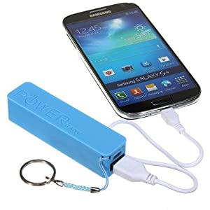New Sky Blue 2600mAh Portable External Emergency Battery Charger Power Bank + Free 1 Noodle Style Flat Coloring USB Data Sync Cable For Nokia X X+ XL / Android Mobile / X2-01 X2-02