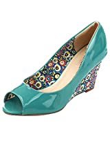 Fascino Women'S Floral Printed Open-Toe Green Pu Wedges -