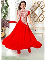 Rozdeal Women Georgette Red Anarkali Suits