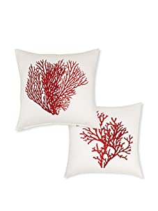Diamond Reef Two Assorted Coral Design Throw Pillows (White/Red)