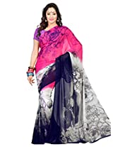 Admyrin Multi Colour Georgette Saree with Light Purple Blouse