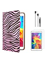 VG Zebra Print Mary Portfolio Multi Purpose Book Style Slim Flip Cover Case for Samsung Galaxy Tab4 T330/T331 8.0 (Pink) + Black Earphones + Matte Screen