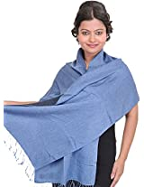 Exotic India Reversible Cashmere Scarf from Nepal - Color Allure BlueColor Free Size