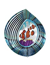 "Iron Stop 10"" 3D Metal Wind Spinner Clownfish Nemo Fish + 2 Swivels - Home Garden Twister USA"