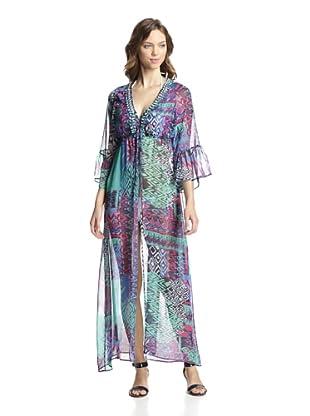 Heather Blond Women's Jewel Embellished Split Maxi Cover-Up (Lombok Print)