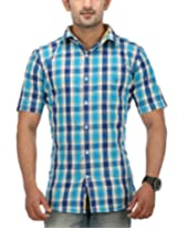 SPEAK Men's Blue Checkered Cotton Half Sleeves Casual Shirt