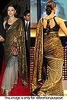 Bollywood Replica Aishwarya Rai Net and Viscose and Jacquard Saree In Black and Off White Colour NC680