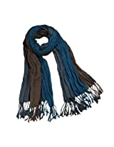 Viscose Men's Triple Color Layer Fringed Scrunch Long Scarf - Teal and Brown