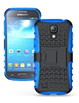 JKase DIABLO Series Tough Rugged Dual Layer Protection Case Cover with Build in Stand for Galaxy S4 Mini i9190 - Blue