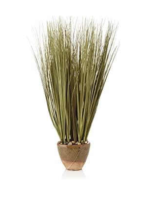 Laura Ashley Faux Onion Grass in Ceramic Container, Green/Brown