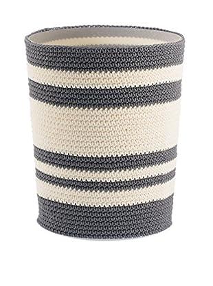 InterDesign Ellis Knit Waste Can, Grey/Ivory