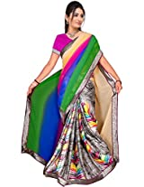 Khushali Presents Printed Georgette & Crepe Saree(Multicolor)