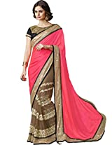 Sapphire Fashions Women's Red jacquard Saree