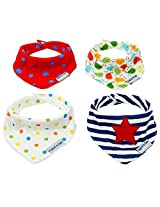 Baby Bandana Drool Bibs - Best for Teething, Premium Soft Cotton and Absorbent Terry, Adjustable in Size with 2 Snaps, Stylish & Cute - For Boys and Girls - Set of 4 - Great Gift