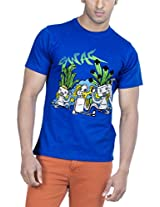 Zovi Cotton Its All About Swag Cobalt Blue Graphic T-shirt (11366701701_Large)