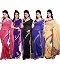 Ishin Combo of 5 Georgette Saree Combo 81
