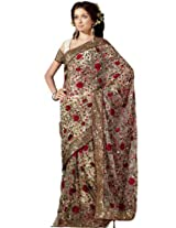 Bharat Plaza Off White Resham & Sequins Work Saree