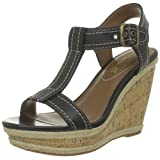 Hush Puppies Renown T Strap Leather/Textile Wedges Heels