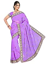 Chinco Embroidered Saree With Blouse Piece (1001-B_Purple)
