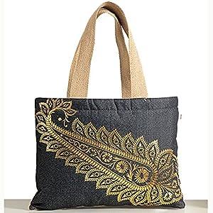 Shopping World Denim One Leaf Handbag