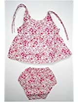 Bubbles Frock With Diaper Panty - (0-4 Months) (Pink)
