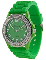 Geneva Platinum Women's 6886.Green Green Rubber Quartz Watch with Green Dial