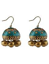 Avarna Terracotta Jhumki Hanging Earrings Jhb0003 For Women (Blue )