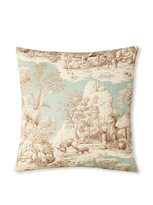The Pillow Collection Feramin Toile Decorative Pillow (Aqua)