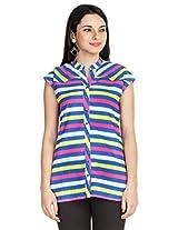 Zovi Cotton Multicolored Striped Top (10560173901_X-Small)