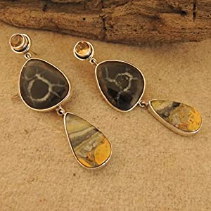 Flames of The Forest Citrine, Moroccan Fossilised Mud Crack and Bumblebee Jasper set in Sterling Silver Earring