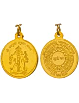 Five-Headed Hanuman Kavach Pendant with His Yantra on Reverse (Two Sided Pendant) - Copper